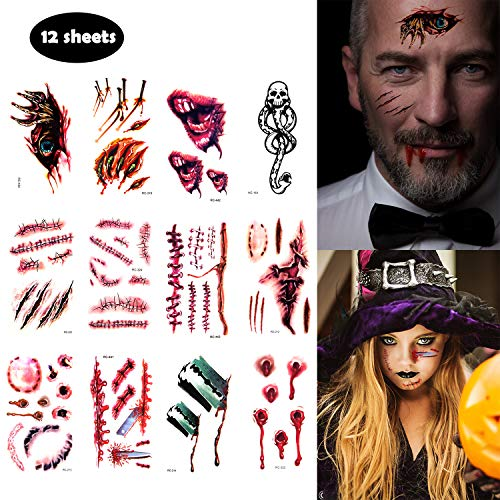 Halloween Tattoos Sticker Waterproof, Temporary Zombie Scars Tattoos with Fake, Wound Stitch Scars Tattoos Masquerade Prank Makeup for Men and Kids (12 -