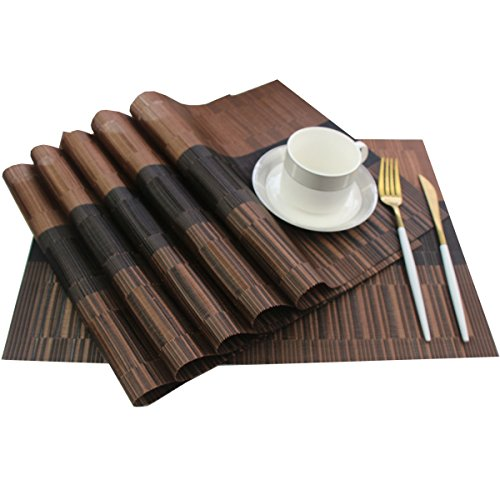 Bright Dream Table Mats Pvc Placemats for Kitchen Table Mats Washable 12×18 inches Set of 6(Coffee+Black)