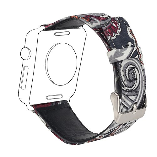 Sunmitech Replacement Band for Apple Watch iwatch 38mm 42mm Series 1 2 3, Leather, Canvas+Leather, Printing Pattern, Classic Watchband - Pattern Tone Two