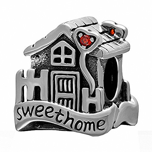 Sweet Home Charm 925 Sterling Silver Charms Family House European Beads for 3mm Snake Chain Bracelets (Sterling Silver House Charm)