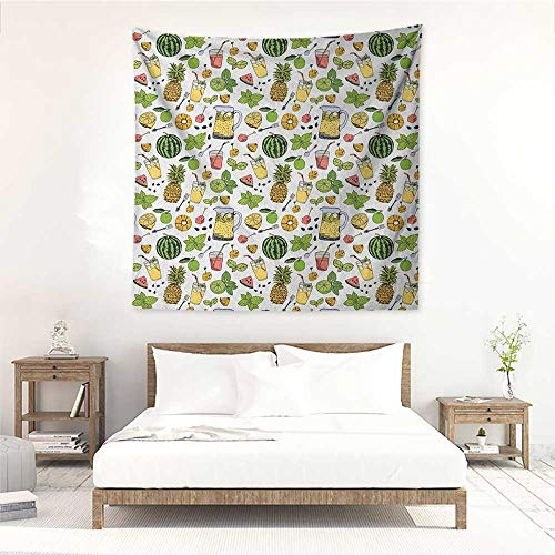 Willsd Tropical Square Tapestry Hippie Summer Holiday Pattern with Fruits and Cocktails Refreshments Juice and Drinks Stylish Minimalist Fresh Style 39W x 39L INCH -