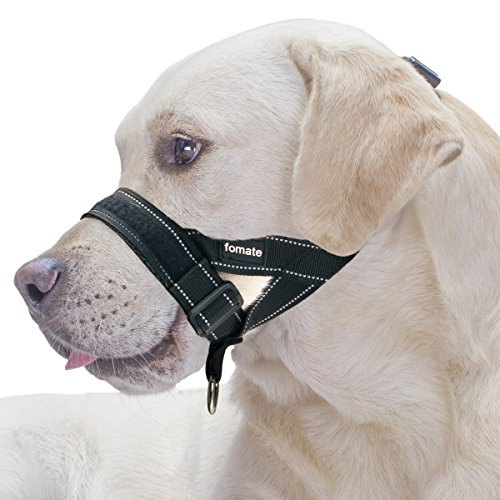 FOMATE Reflective Safety Dog Muzzle Lead with Adjustable Sections, Release Strap, for Small, Medium, and Large Breeds (X-Large, Reflective Black) Dog Muzzle Safety Muzzle