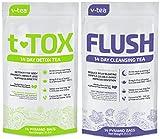 v tea Advanced 14 Day Detox Tea Kit: Morning Teatox and Evening Flush. Reduce Bloating and Constipation. Natural Weight Loss. 100% Organic 28 Pyramid Sachets
