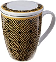 Caneca De Porcelana Super White C/tampa E Filtro Egypt Preto/dourado 310ml C/caixa De Presente Lyor Preto E Do