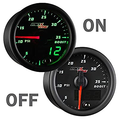"MaxTow Double Vision 35 PSI Turbo Boost Gauge Kit - Includes Electronic Pressure Sensor - Black Gauge Face - Green LED Illuminated Dial - Analog & Digital Readouts - for Trucks - 2-1/16"" 52mm: Automotive"