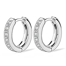 Acefeel White Gold Plated Womens Mens Hoop Huggie Earrings CZ Piercings Channel Earrings E193