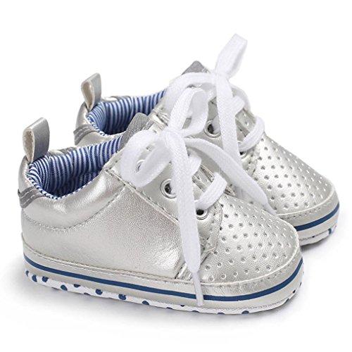 HUHU833 Kinder Mode Baby Schuhe Soft Sole, Schuhe Baby Blumenkrippe Schuh Kleinkind Weiche Sole Leder Schuhe Anti Rutsch Turnschuhe Beiläufige Schuhe Junge Mädchen Silber