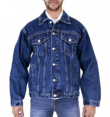 MENS AZTEC DENIM JACKET STONEWASH 5XL (Stonewash Jean Jacket Men)