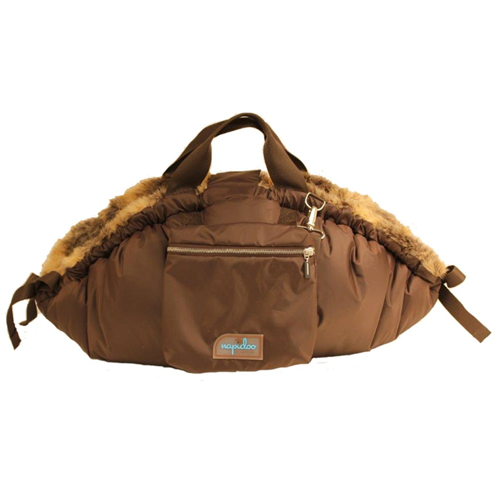 Napidoo round All Year Bag and Dog Bed Brown with Faux-Fur Inlay (Olive Striped, cotton, X-Small, approx. 25.6  x 11.8  x 4.7 )