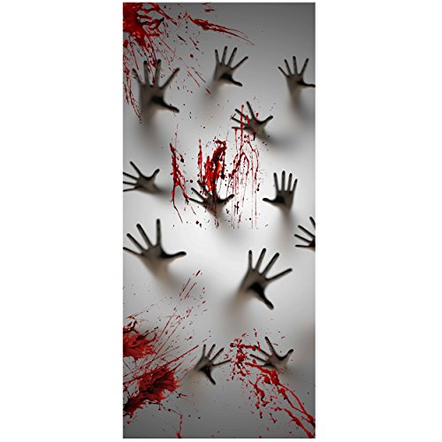 Joiedomi Halloween Haunted House Decoration Window Door Cover Zombie Hands 72X30 Inches -