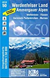 UK50-50 Werdenfelser Land, Ammergauer Alpen: Wetterstein ,Füssen, Garmisch-Partenkirchen, Murnau (UK50 Umgebungskarte 1:50000 Bayern Topographische Karte Freizeitkarte Wanderkarte)