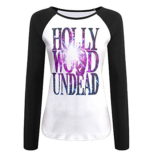 Women's Hollywood Undead Logo For T Shirt Long Sleeve Screw Neck Athletic Baseball Tee Raglan Tee Shirts Black US Size XXL