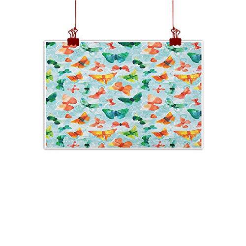 Sunset glow Canvas Wall Art Seafoam,Watercolor Butterflies of Many Colors Brush Stroke Effect Spring Fauna Pattern, Multicolor 36
