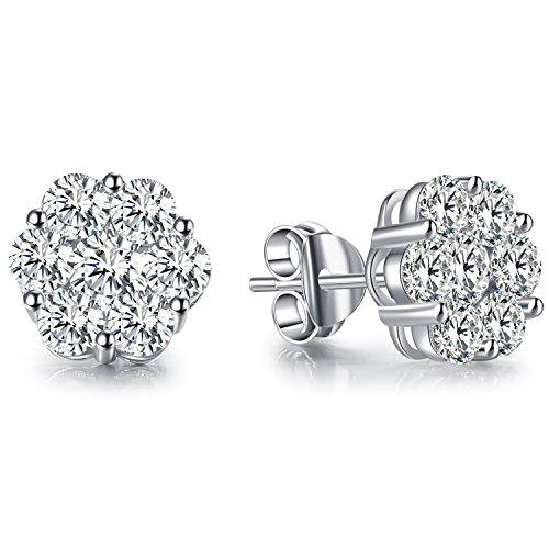 Vibrille Sterling Silver Diamond CZ Cubic Zirconia Flower Stud Earrings for ()