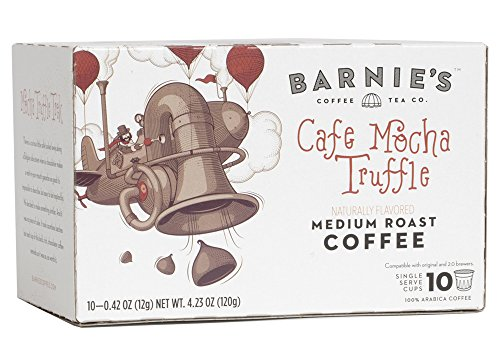 (Barnie's Cafe Mocha Truffle Single Serve Coffee | K Cups for Keurig Brewers | Decadent and Rich Chocolate Coffee | Sugar Free, Gluten Free, Fat Free | Medium Roasted Arabica Beans | 10 Count)