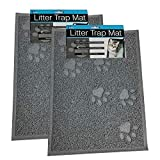 2 Pack Cat Litter Trap Mat Kitty Litter Mat Litter Catcher Size Small Gray Soft Rubberized Material Traps Dirt Litter Waterproof Easy Clean Durable Cats Kittens Reduces Litter Scatter Non Slip Backing
