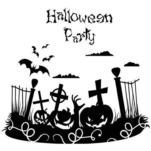 Halloween Pumpkin Face Wall Sticker Black Bat Cross Picture Home Living Room School Dorm Festival Decoration for $<!--$8.99-->