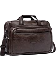 BROMEN Leather Briefcase for Men 15.6 inch Laptop Messenger Bag Expandable Large Capacity Business Duffle Travel Bag Coffee