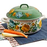 The Pioneer Woman 4 QT Dutch Oven Rose Shadow With Lid Floral Enamel Steel 3.7L