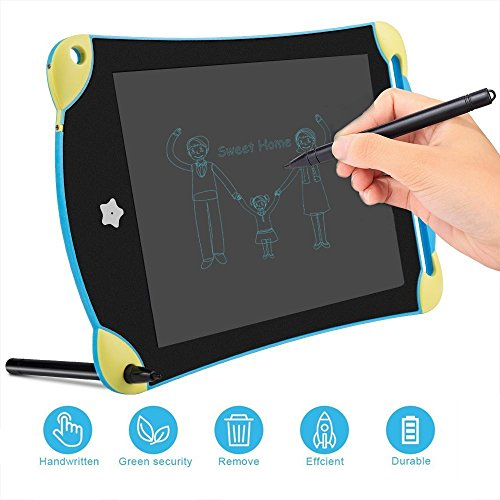 LCD Writing Tablet, Screen Locking Electronic Writing Board, Portable Handwriting Notebook and Stylus (8.5inch, Blue) (Blue Stylus Body)