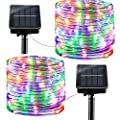 Solar String Lights Outdoor Rope Lights, 2 Pack 8 Modes 100 LED Solar Powered Outdoor Waterproof Tube Light Copper Wire Fairy Lights for Garden Fence Yard Summer Party Wedding Decor