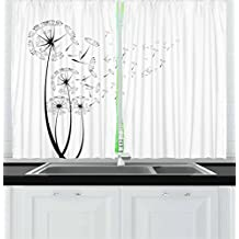Ambesonne Dandelion Kitchen Curtains, Monochrome Dandelions with Seeds Blowing in the Wind Fluffy Flower Romance Theme, Window Drapes 2 Panel Set for Kitchen Cafe, 55 W X 39 L Inches, Black White