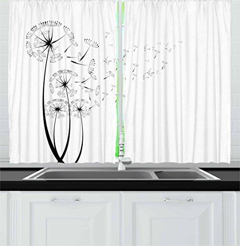Ambesonne Dandelion Kitchen Curtains, Monochrome Dandelions