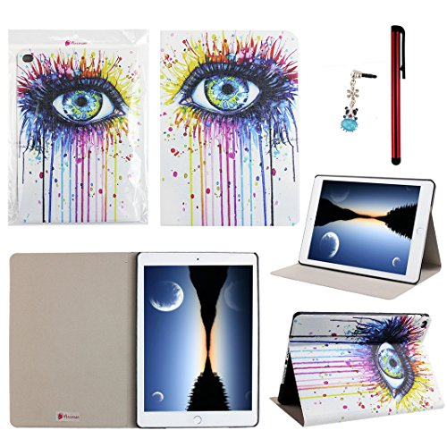 """Ancerson® PU Leather Case for Apple iPad Air 2 (iPad 6) 9.7"""" Colorful Printed Ultra Slim Protective Flip Folio Folding Stand Pouch Shell Skin Free with a Red Stylus Touchscreen Pen, a 3.5mm Universal Crystal Diamond Rhinestones Bling Lovely Silvery Flower Blue Panda Pendant Dust Plug (Ink Painting Hot Pink Purple Blue Yellow Eye Eyelash)"""