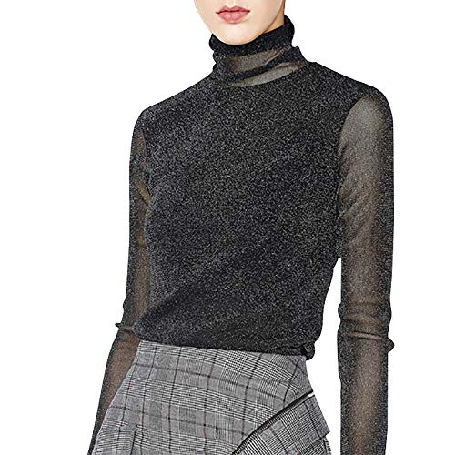 Fendou Women's Turtleneck Top Long Sleeve/Sleeveless Slim Fit Shirts Mesh Sheer See Through Casual Top