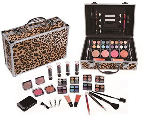 Cameo Carry All Trunk Train Case with Makeup and Reusable Aluminum Case Leopard