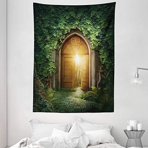 Ambesonne Fantasy Tapestry, Sunbeams Through The Mysterious Half Opened Wooden Entrance with Greenery, Wall Hanging for Bedroom Living Room Dorm Decor, 60 X 80 , Green Yellow