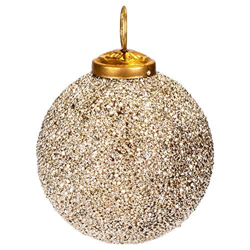 "First of a Kind 3"" Round X 3"" H Glass Ball Ornament w/Silver Glass Seed Beads"