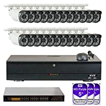 32 Channel NVR H.265/H.264 (24) 3.6mm Lens PoE IP Security Camera System 3 x 5T HD