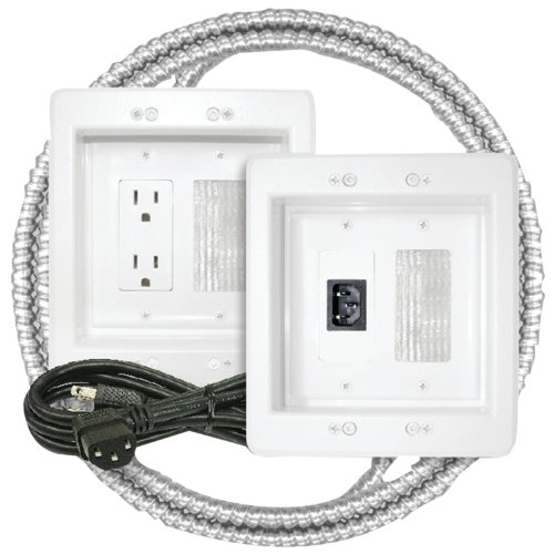 Petra A/v Interconnect Cable - MIDLITE Power Jumper HDTV Power Relocation Kit (Includes Pre-Wired Metal Clad Cable), White (22APJW-7R-MC)
