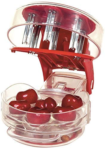 Uliving Stainless Steel Cherry Pitter Redcherry Pit Remover Tool Machine for Mason Jar 6 Cherries Red