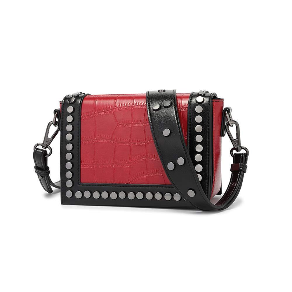 Amyannie Casual Liu Ding Small Square Bag Wide Shoulder Strap Shoulder Messenger Bag Color : Red