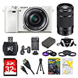 Sony Alpha a6000 White Camera with 16-50mm and Black SEL 55-210 Lenses 32GB Kit - Includes Camera with Lens, Second Lens, Memory Card, Carrying Case, 2 Filter Kits, Battery, Battery Charger, Card Reader, DVD Training Guide, and More
