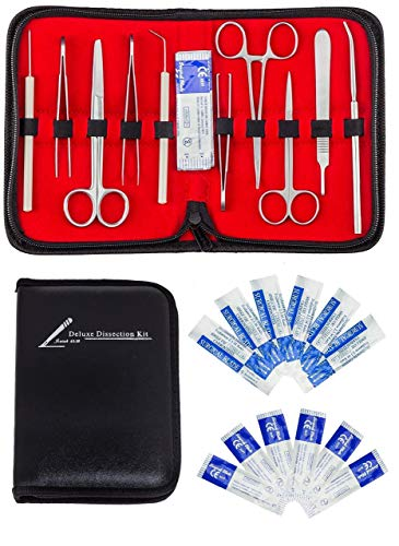 20 Pcs Advanced Anatomy & Biology Lab Dissection Kit- PURE STAINLESS STEEL-10 instruments & 10 scalpel handle blades