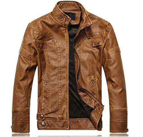 - Oudahood Leather Jacket Men Leather Coat Motorcycle Jacket 8805 Yellow XL
