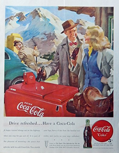 Coca Cola Color Advertisement - Coca Cola, 40's vintage advertisement. Color Illustration (gas station) original 1947 Magazine Art