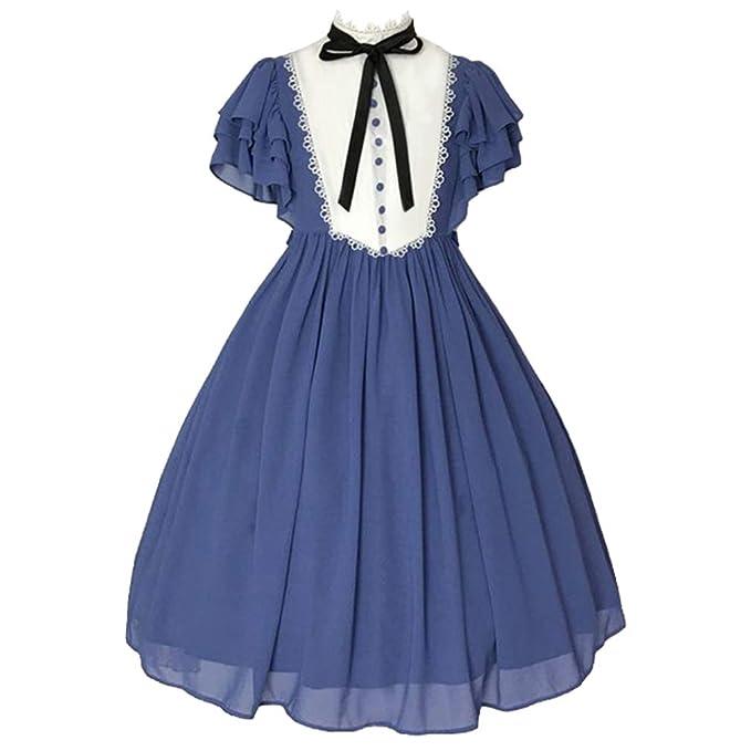 Mujer Lolita Vestido Escuela Dulce Arco Cuello Redondo ...