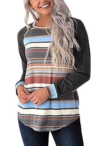 's Long Sleeve T Shirt Casual Striped O Neck Raglan Sleeve Blouse Tops Dark Grey Medium (Raglan Long Sleeve Top T-shirt)