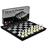 2 in 1 Travel Magnetic Chess and Checkers Set - 14''