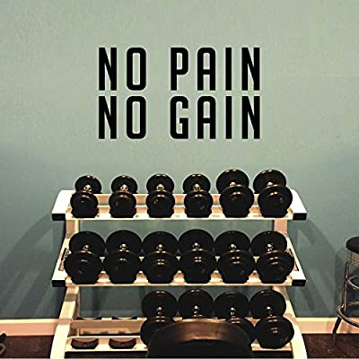 """Inspirational Gym Quotes Wall Art Vinyl Decal - No Pain No Gain - 13"""" x 23"""" Workout Gym Fitness Sports Quotes Removable Wall Art Sticker Decals Signs"""