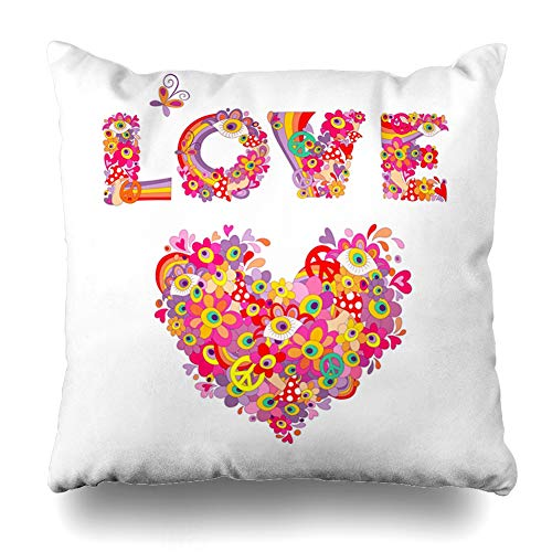Ahawoso Throw Pillow Cover Psychedelic 60S Hippie Heart Shape Love Flower Lettering Abstract 70S Back Bright Design Decorative Cushion Case 18x18 Inches Square Home Decor Pillowcase