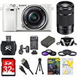 Sony Alpha a6000 White Camera with 16-50mm and Black SEL 55-210 Lenses 32GB Kit - Includes Camera with Lens, Second Lens, Memory Card, Carrying Case, 2 Filter Kits, Battery, Battery Charger and More