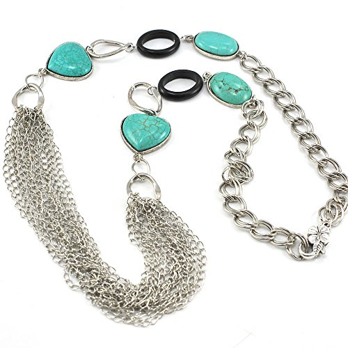 Black Onyx & Blue Magnesite Turquoise Long Necklace with Silver Chain 33