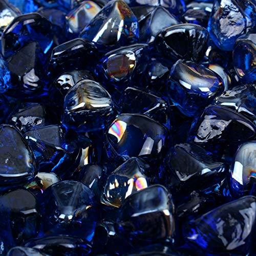 Blue Ridge Brand™ Dark Blue Reflective Fire Glass Diamonds - 3-Ounce Sample Professional Grade Fire Pit Glass - 1 Reflective Glass Fire Pit Landscaping