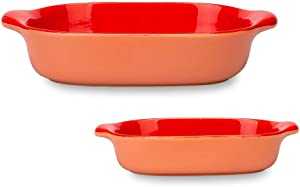MDZF SWEET HOME Set of 2 Ceramic Baking Dish Set for Oven Roasting Lasagna Pan Large and Small Bakeware Set with Handle, Red