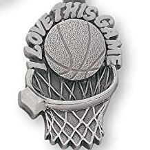 Pewter Basketball Key Chain - I Love this Game Keychain